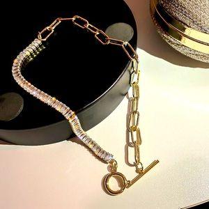 Luxury Gold Tone Crystals Choker